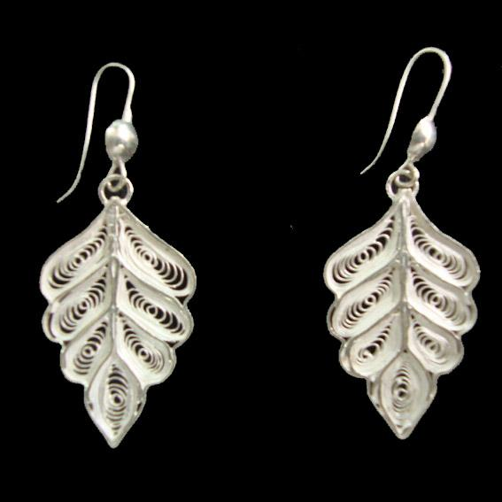 Leaf Cut Silver Filigree Earrings