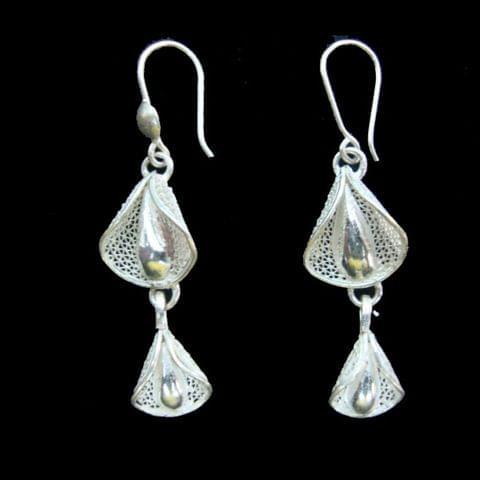 Duo Bud Drop Silver Filigree Earrings