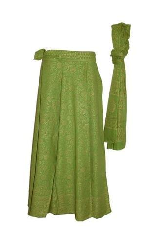 Olive Long Wrap Skirt with Dupatta