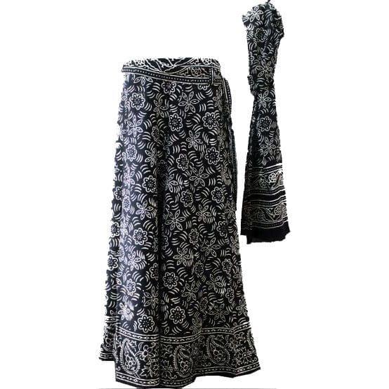 Black White Long Wrap Skirt with Dupatta