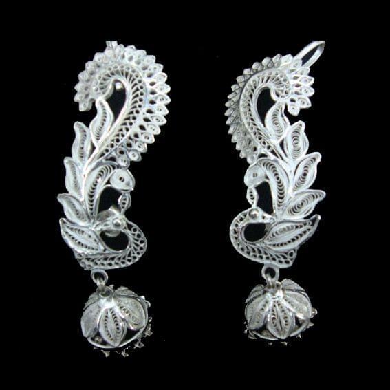 Kaanphool Silver Filigree Earrings