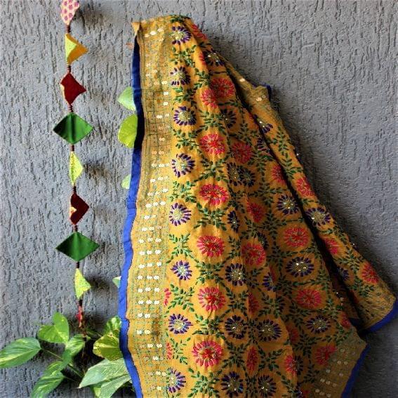 Chanderi Mustard Multicolor Dupatta