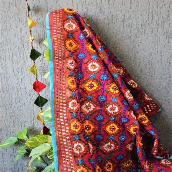 Chanderi Red Multicolor Dupatta