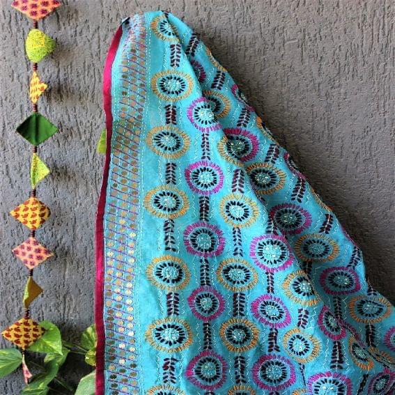 Chanderi Multicolor Firozi Blue Dupatta