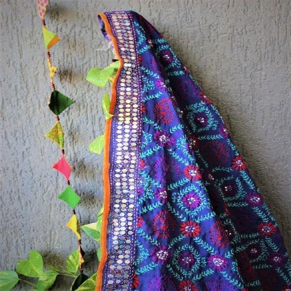 Chanderi Purple Multicolor Dupatta