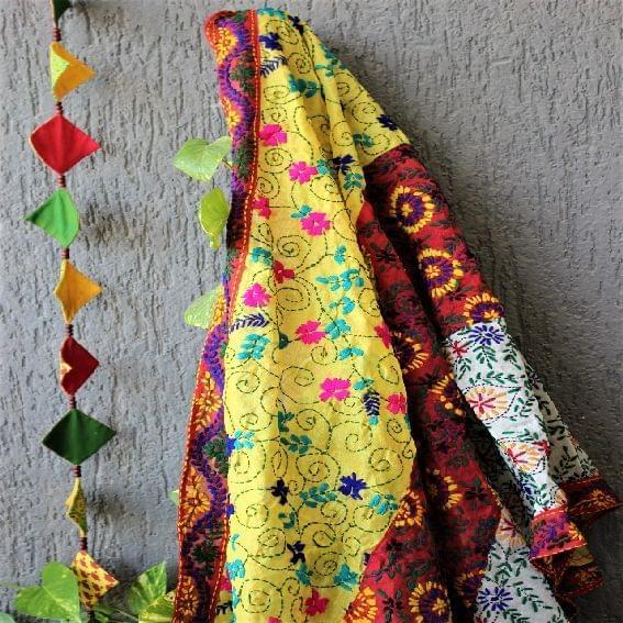 Chanderi Multicolor Applique Work Dupatta