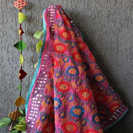 Chanderi Onion Pink Multicolor Dupatta