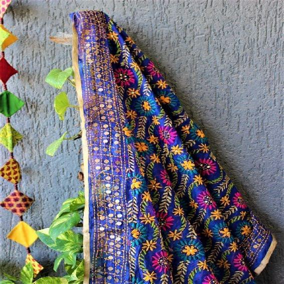 Chanderi Multicolor Blue Dupatta