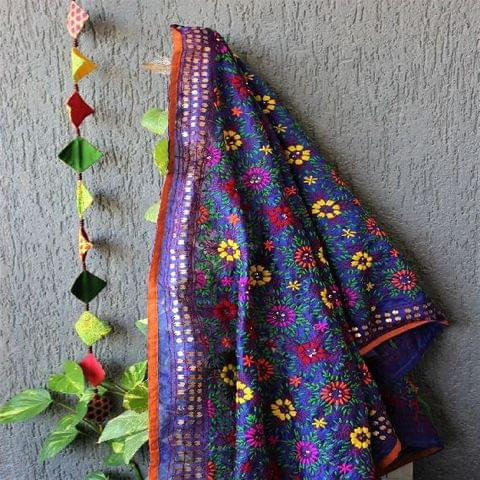 Chanderi Blue Multicolour Dupatta