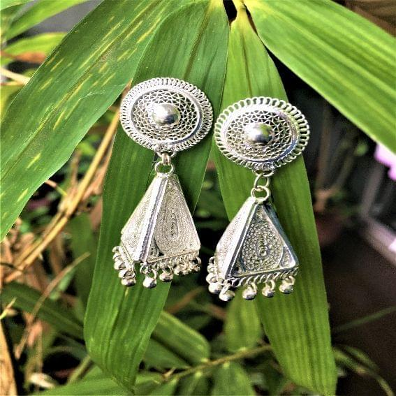 Silver Filigree Triangle Jhumki
