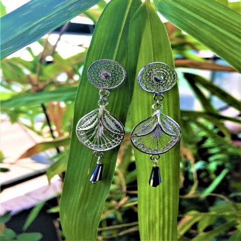 Silver Filigree Leaf Drop Earring