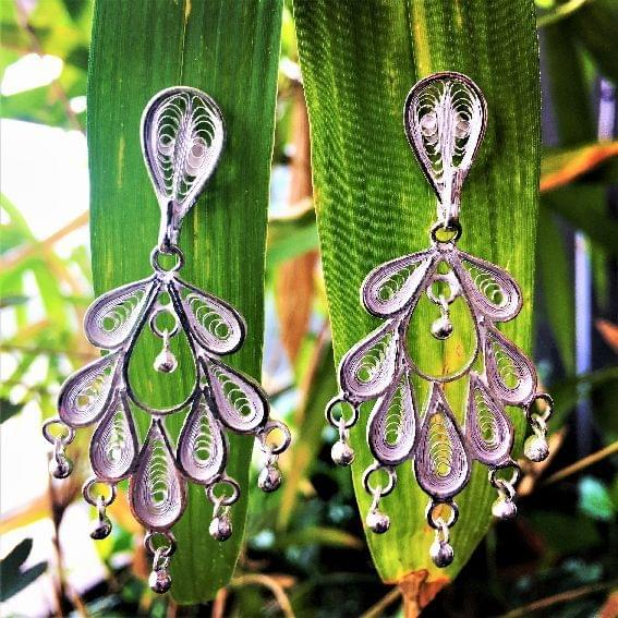 Silver Filigree Feather Earrings