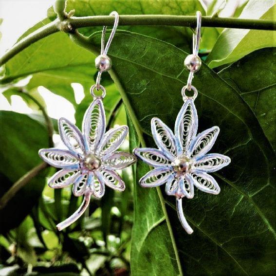 Silver Filigree Flotale Earrings