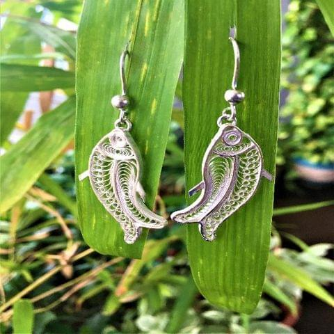 Silver Filigree Fishy Earrings