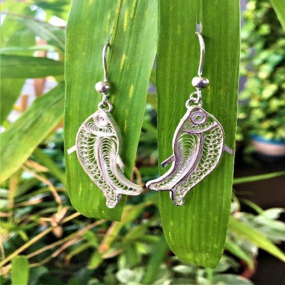 Silver Filigree Fishy Earrings