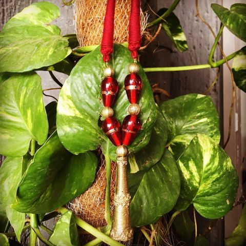 Dhokra Tribal Cigar Red Pendant