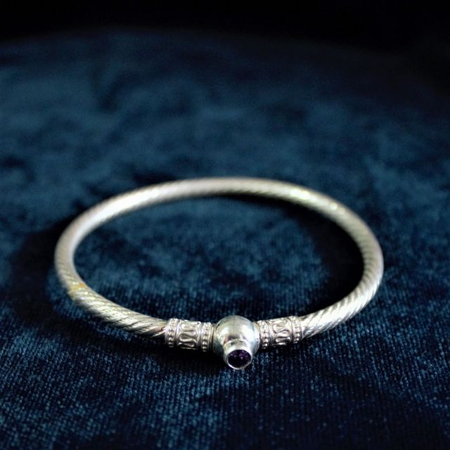 Silver Spiral Purple Stone Bangle