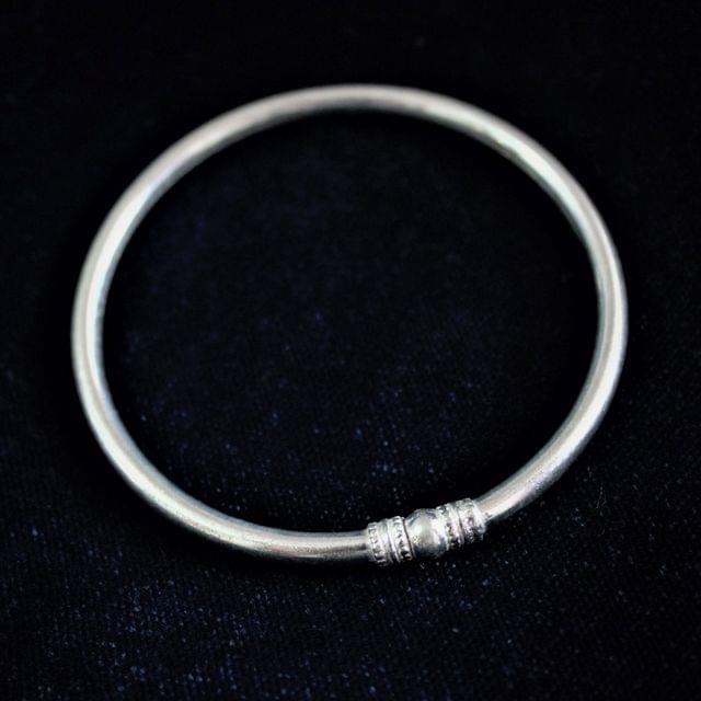 Silver Plain Ball Thin Bangle