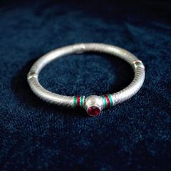 Silver Meena Red Stone Bangle