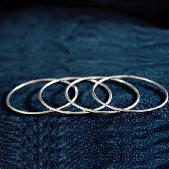 Silver Plain Bangles Set of 4