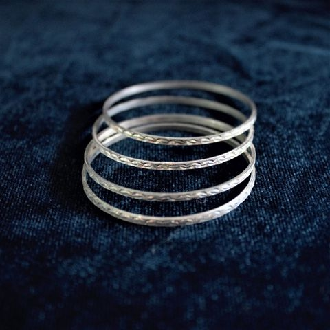 Silver Cut Design Bangles Kids