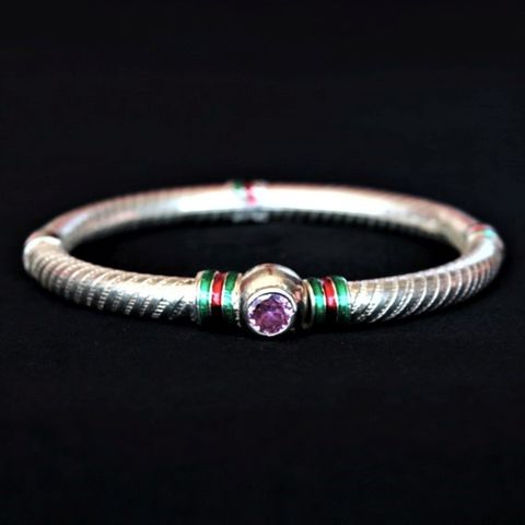 Silver Meena Bangle Purple Stone