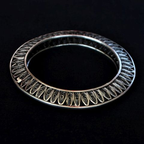 Elegant Silver Oxidised Filigree Bangle