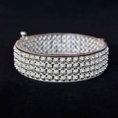 Floret Four Line Silver Filigree Bracelet