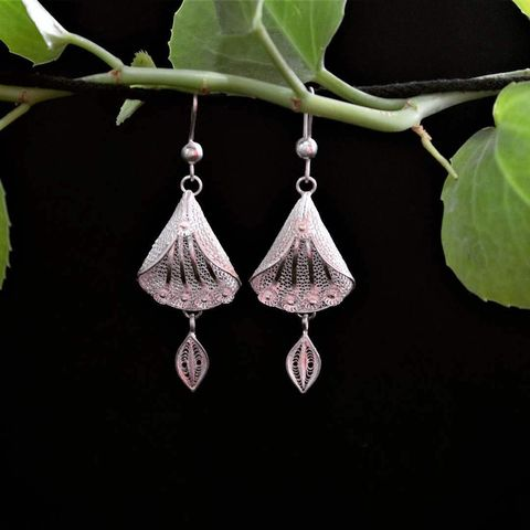 Bud Drop Silver Filigree Earrings