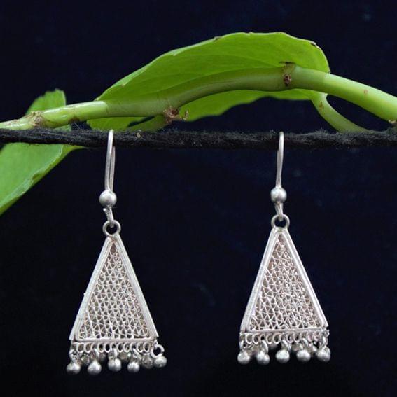 Silver Filigree Triangle Jhumki