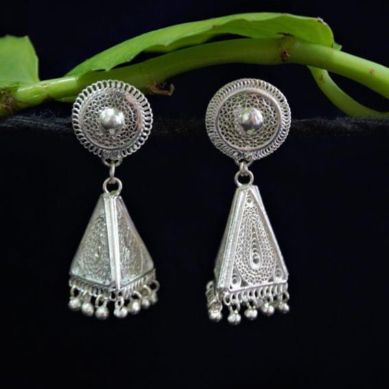 Silver Filigree Triangle Design Tops Jhumki