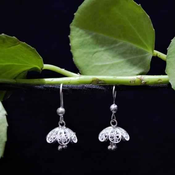 Silver Filigree Floral Jhumki Small