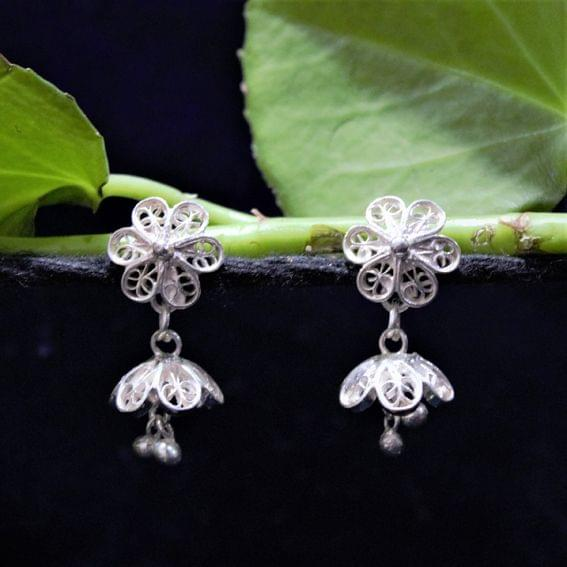 Silver Filigree Tops Floral Jhumki
