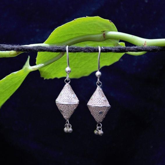 Silver FIligree Cone Jhumki Small