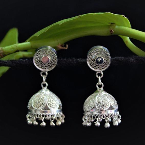 Silver Filigree Tops Jhumki Small
