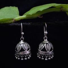 Oxidised Silver Filigree Jhumki Small