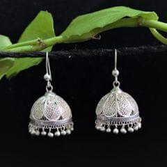 Silver Filigree Jhumki Petal Medium