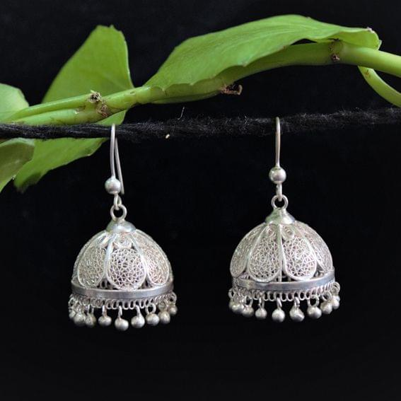 Silver Filigree Jhumki Petal Medium
