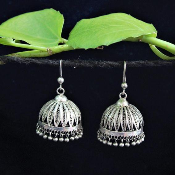 Oxidised Silver Filigree Jhumki