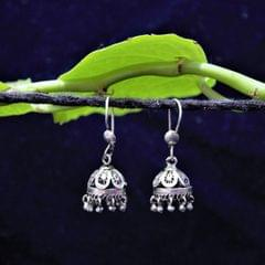 Oxidised Silver Filigree Tiny Jhumki