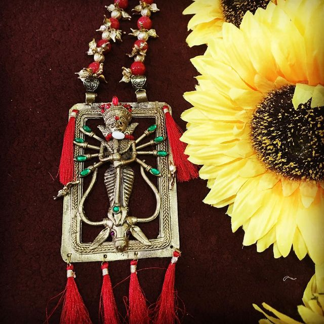 Maa Durga Dhokra Brass Necklace