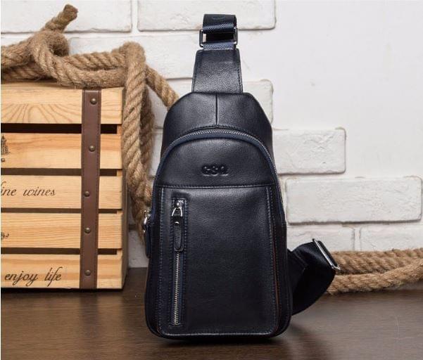 Wholesale- GSQ Genuine Leather Men Bag Panelled Men Chest Bag New Arrival  Brand Designer Leather Messenger Bags Casual Mens Crossbody Bags 78f9cef7839b5