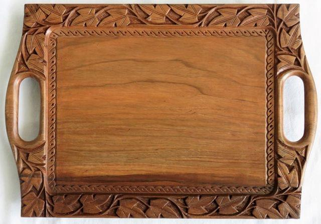 IndicHues Wooden Handmade Rectangular Serving Tray with Handles in Chinar leave motif from Kashmir