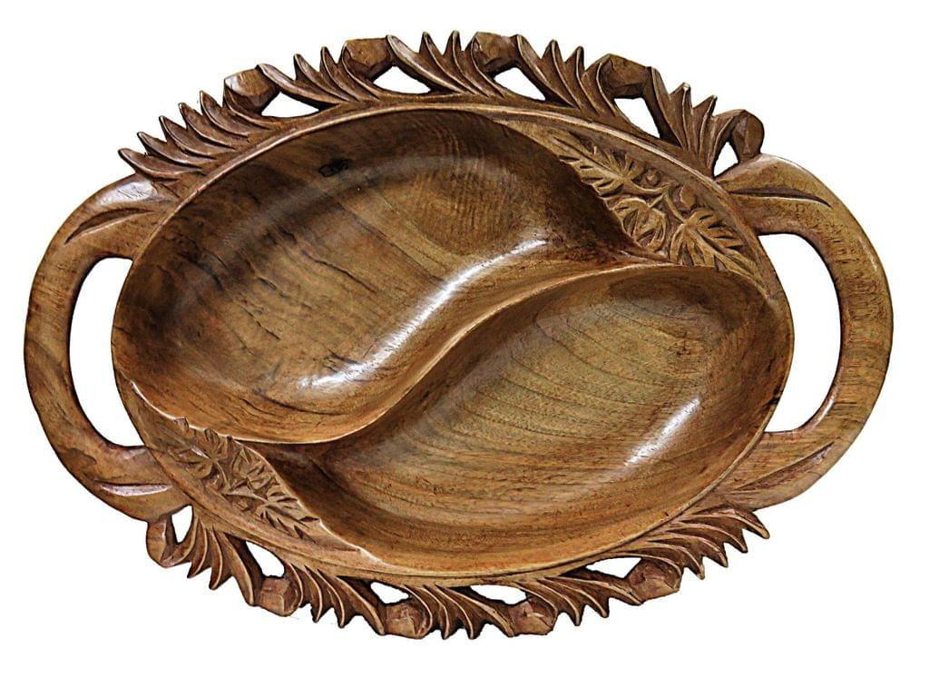 IndicHues Beautiful Wooden Handmade Oval Large Decorative Serving Bowl with Handle