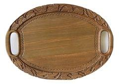 IndicHues Wooden Handmade Oval Serving Carved Tray with Chinar leave pattern from Kashmir