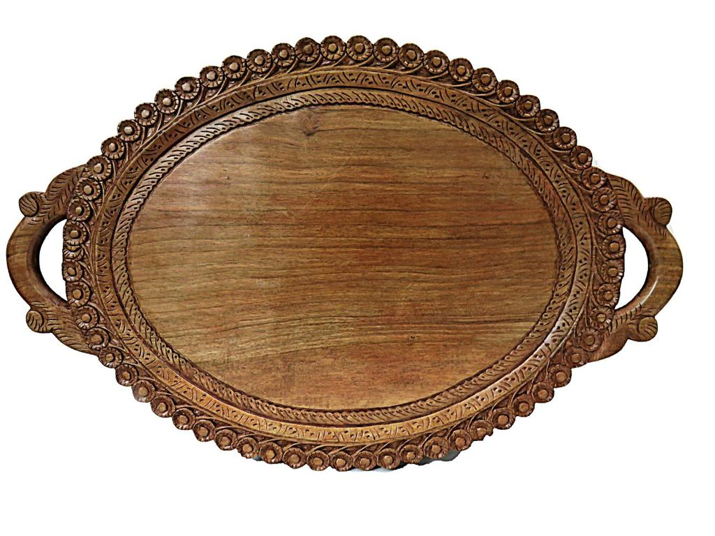 IndicHues Wooden Serving Tray with Handles in Oval design from Kashmir