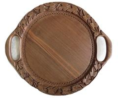IndicHues Wooden Handmade Carved Round Serving Tray, 12 inch diameter from Kashmir