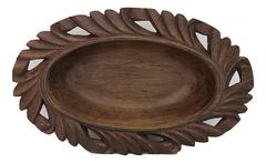 IndicHues Wooden Hand Turned Walnut Oval Bowl With Carving from Kashmir