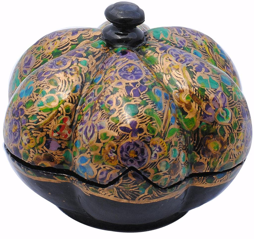 IndicHues handmade Paper Mache lotus shape Trinket Box / Jewelry Storage case from Kashmir