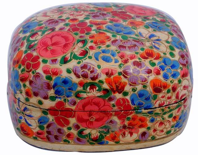 IndicHues Handpainted 3.5 inch Paper Mache Trinket Jewelry Box